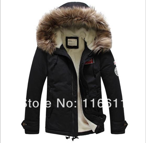 2013 the newest winter Cotton clothes men's coat fur collar men brand jacket (MF0005)(China (Mainland))