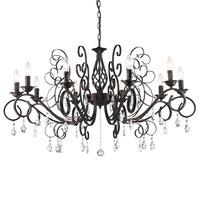 Big Luxury Wrought Iron Crystal Chandelier E12*10pcs LED Light Black Candelabra Vintage Antique Pendant Lamp