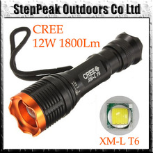 2013 Hot Sale Tactical 12W 1800lm CREE XM-L T6 Zoomable Focus Flashlight Torch 18650 7-Mode FLT-028(China (Mainland))