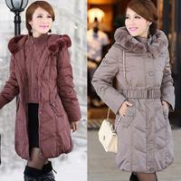 2014  Winter Jacket Women Plus Size Rex Rabbit Fur Collar Duck Down Coat Thickening Warm Branded Parkas Winter Coat Women 5189