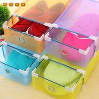 Free shipping 5pcs/lot S153 Transparent shoe box drawer metal edging thick plastic storage box