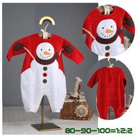 Christmas Baby Autumn Winter Modelling Rompers Embroidered Snowman Winter Wear Children Warm Jumpsuit Polar Fleece 1PCS