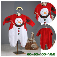 Christmas Baby Autumn Winter Modelling Rompers Embroidered Snowman Winter Wear Bodysuit Children Warm Jumpsuit Polar Fleece 1PCS