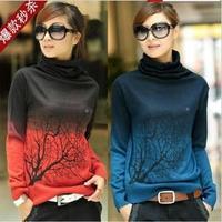 2013 autumn and winter fashion hot-selling  YUAN XIANG sweater turtleneck cashmere sweater gradient women's basic shirt