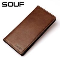 Souf high quality mens vintage 100% cowhide Genuine leather long design wallet purse for men