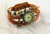 10pcs/lot Hot selling Korean fashion lady bracelet watch Love Tower Pendant Hand-woven watch Free shipping