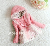 2013 Girls Autumn winter Children Clothing PADDING COATS Hooded SAMLL Floral double-breasted coat Kids Lovely Clothes