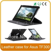 360 Degree Rotating PU leather case cover stand For Asus Transformer TF300 TF301 Tablet (Black)