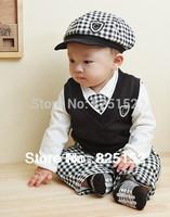 5PCS Infant Baby Boys Toddler Vest+ Long T-Shirts+ Pants+ Hat+ Tie Outfits Sets children Spring Autumn Kids Clothes suit 0-36M