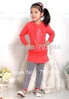 Wholesale~New girls Mickey hoodies+striped skirt pants leggings 2pcs clothing sets minnie kids cartoon suits,4set/lot