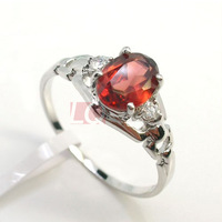 LQ Fine Jewelry Natural Garnet Ring for Women Sterling 925 Silver with Platinum Overlay Fashion Design accept Customized size