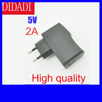 10Pcs/lot High quality EU Plug AC 100-240V Power Supply Wall Adapter DC 5V/2A USB Charger for PDA DV Mp3 Mp4, Black color