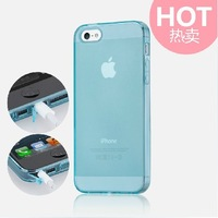 TPU Transparent  ultrathin soft phone case with Dust plug for iPhone 5/5S Free shipping