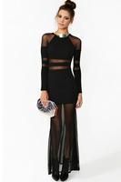 vestido longo bohemian dress Sexy Black Sheer Lace Mesh Panels Long Sleeves Shadow Stripe Party Maxi Dresse winter dress LC6191