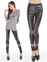 Free Shipping Imitation Leather Leopard  Zipper  Patchwork On Knee Women's Leggings Wholesale and Retail