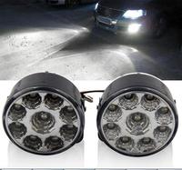 2PCS X Super Bright White 9W LED Round Day Fog Light Head Lamp Car Auto DRL Daytime Running Light Fog Light