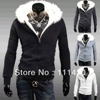 Men's Fur Hooded Men Sort Sweatshirts Cashmere Cardigan Men's Hoodies