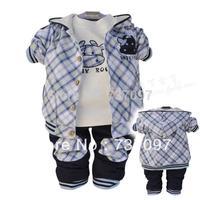 hot sell newborn baby boy clothing set,cartoon cow baby clothing,Fashion plaid jacket+T shirt+pants 3 pcs roupas de bebe