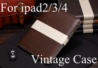 New arrival fashion book style leather case cover for apple ipad2/3/4 Wallet card slot Official Business freeshipping hot sell