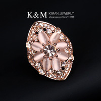 (Min order is $10) New Design Cat's Eye Gold Ring for Women Luxurious Flower Jewelry Rings Free shipping