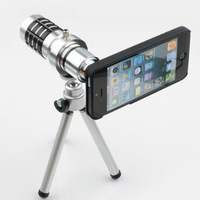Free shipping 12x Zoom Metal Lens 12x zoom aluminum Telescope Lens With Tripod For iPhone 4