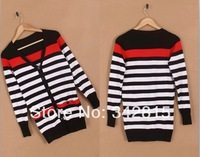 The 2014 New Ladies Fashion Sweet All-Match Korean Conventional Stripe Knit Cardigan Sweater Jacket YFBL227.