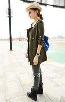 New 2014 Women Trench Coat Veste Femme Slim Epaulet Casual Single Breasted Long Sleeve Women Coat Black M~XL Free Shipping