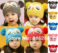 Children's Hats Sweet Animal Owl Shaped Crochet Winter Warm Caps For Baby Boy Girls 2014 Cut Cap