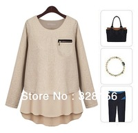 2013 New Fashion O-Neck Solid women Full Sleeve Shirt/blouses Spring Autumn Winter S,M,L,XL Free Shipping