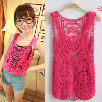 New 2014 Fashion Women Embroidery Hollow out Lace Sheer Blouses Sexy Plus Size Crochet Floral Printed Tops shirt