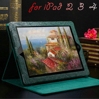 Luxury Fashion Phoenix Pattern PU Leather Case for iPad 3 4 2 Smart Cover With Stand Flip Green Red Pink Black Brown Free Stylus