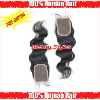 "Factory Price Free Shipping Brazilian Virgin Hair Lace Top Closure Body Wave 3.5""*4"" Virgin Brazilian Wavy Queen Hair Products"