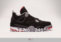 Free Shipping  classic j4 basketball shoes sneakers black /red