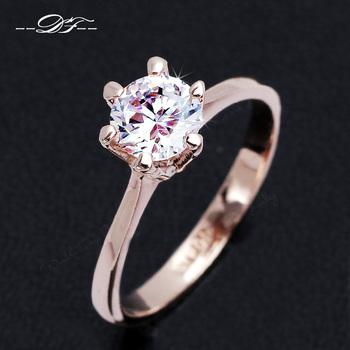 Six Claw 1 Carat CZ Diamond Свадьба ring 18K Золото Plated Austrian Crystal Brand ...
