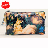 2014 Newest Fashion Women's Day Clutch Genuine Patent Leather Flower Handbag Retro Shoulder+Messenger Bag,with Chain,CN-363