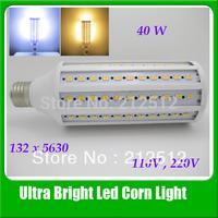 Big Promotion Free Shipping E27 High Brightness Led Lamp 40W 3800lm 5630 132Leds 360 degree Corn Bulb Light 110v / 220V Led Bulb