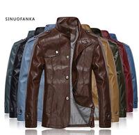 2014 mens winter jackets coats 8colors mens fur lined coat slim fit leather jackets for men  jacket men PU leather jackets 3XL