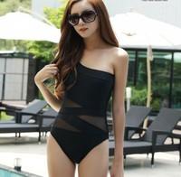 2015 Black Cut Out Sexy One Piece Swimwear Single Shoulder Swimsuit Women Monokinis 1277