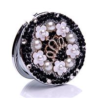 Elegant Pearl Beauty Pocket Mirror Hand Double Dual sides Makeup Mirror ,New Arrival Handmade Diamond Make up Tools