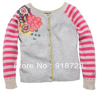 new arrival newest france brand cati** spring kids girls outerwear coat cardigan stripe pink flower 3-12T fashion