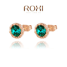 ROXI Exquisite Crystal stone Earrings platinum plated with AAA zircon,elegant women party banquet ,Pure handmade,2020014210