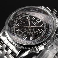 Classic KS Aviator Stainless Full Steel Luxury Automatic Calendar Date Day Display Wrap Gift Wrist Men's Mechanical Watch/ KS098
