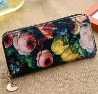 The new 2013 long purse ms canvas zipper wallet latest fashion trends Free ePacket