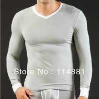 Free shipping! 2013 New Arrival Modal V-neck & Long Sleeve Basic T-shirt Separate Long Johns Set 5 Colors K008