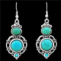 Fashion Jewelry Vintage Look Antique Silver Plated Flower Drop Crystal Turquoise Dangle Earrings E033