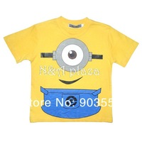 Cartoon Despicable Me  Minions Hight Quality Cotton Short Sleeve O-NECK Boy or girl T-Shirt Children Clothing Free Shipping