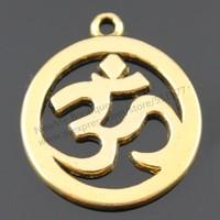 10pcs/lot 25mm 3 Colors Antique Gold, Antique Silver, Antique Bronze Plated OM Sign Charms