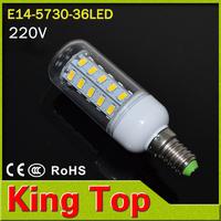 KingTop E14 5730  LED light  Led lamp  220V Corn Bulbs 36LEDs Lamps 5730 SMD 11W Energy Efficient E14 led lighting 6PCS/LOT new