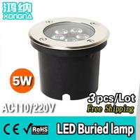 Free Shipping, AC85~265V, 5W High Power LED Underground Lamp Waterproof IP68 Outdoor Underground Light