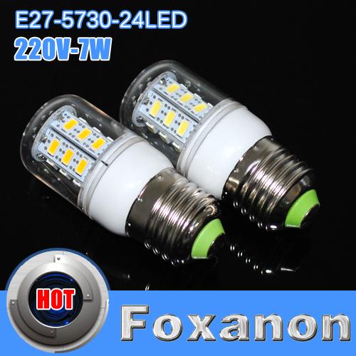 Foxanon Brand E27 5730 SMD Chip led light 220V Corridors Use Energy Efficient Corn Bulbs 24LEDs Lamps Max 7W Lighting 1Pcs/Lot(China (Mainland))